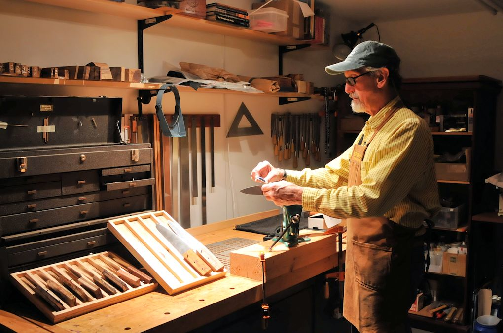 photo of the maker at workbench